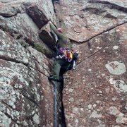 """Rock Climbing Photo: """"Atomic Knee Drop"""" 5.6"""