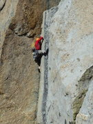 Rock Climbing Photo: Will in the OW crux of P2. Jam Session
