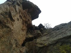 Rock Climbing Photo: After you pass the bush on the steep headwall, get...