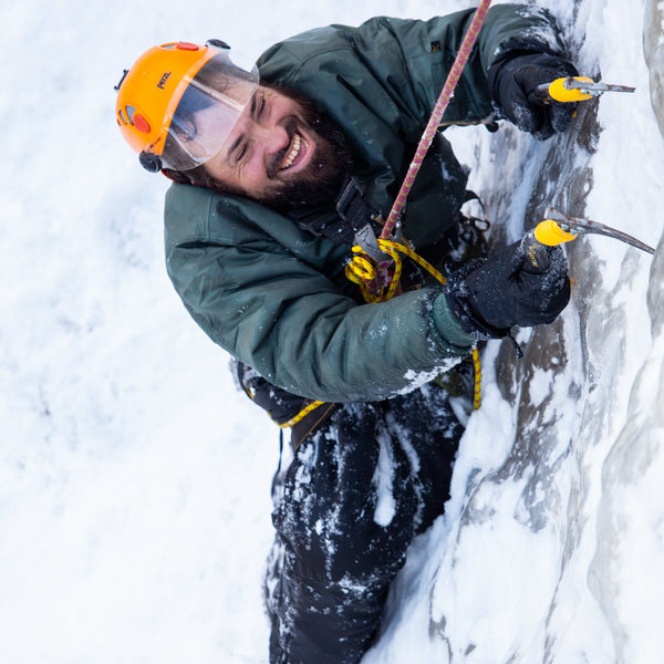 Enock ice climbing last winter at Cathedral Ledge, NH