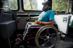 Rock Climbing Photo: Enock taking Yosemite bus to Laconte boulder to tr...