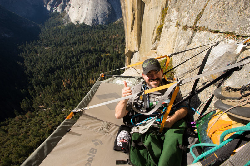 Enock during his first evening in a portaledge<br>