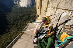 Rock Climbing Photo: Enock during his first evening in a portaledge