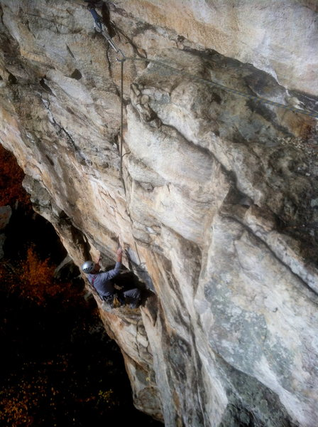 Looking down at the middle-top of P1 of Yellow Verschneidung from the P1 belay.