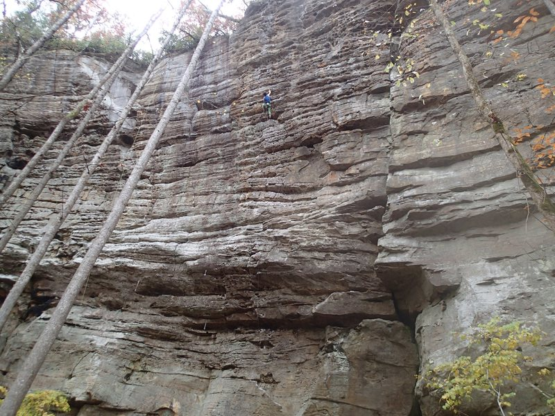 Awesome tall route up the middle of the wall