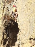 "Rock Climbing Photo: Aaron Hope on first pitch of ""Proboscis""..."