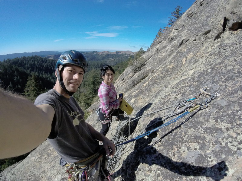 Hanging out at the first belay, Chris Kreutzer and Pam Ng