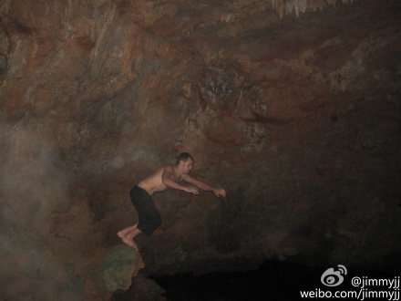 Rock Climbing Photo: After climbing on a hot day, playing around in som...