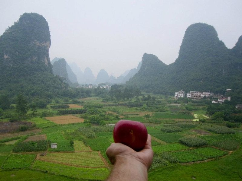 Having a super apple half way up a multi-pitch on the egg, yangshuo