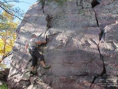 Rock Climbing Photo: Burt, eyes focused, hoping that hold isn't a slope...