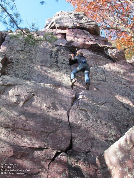 Brian, trying to find non-sloping holds.