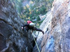 Rock Climbing Photo: Coming up P3 in the thin nuts section.