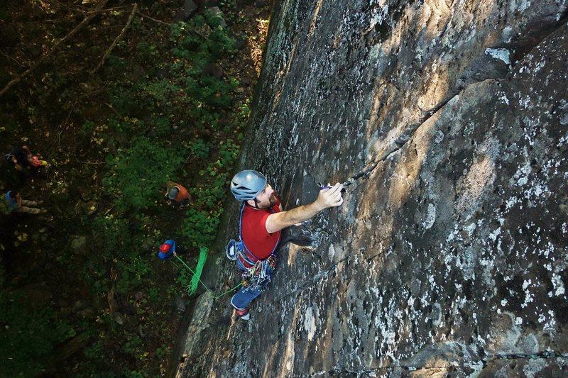 Rock Climbing Photo: Jon J on the sharp end.  Photo by Carter Stritch