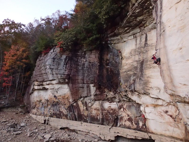 Rock Climbing Photo: Drew Davis on Mutiny, 5.11d. Photo by Nate Davey.