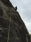 Rock Climbing Photo: Heading out of the ramp section on P2 of Jim Dandy...