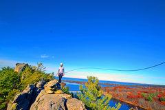 Rock Climbing Photo: Liz traversing the top of Air Spire