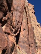 Rock Climbing Photo: I. Altman drops into a layback to gain the Superet...