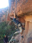 Rock Climbing Photo: Miles Newbie attempts to free climb the entry to R...