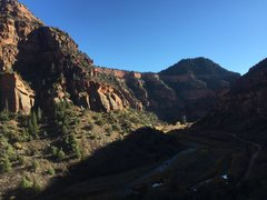 Rock Climbing Photo: View up canyon from the Red Rocks Simulator Wall, ...