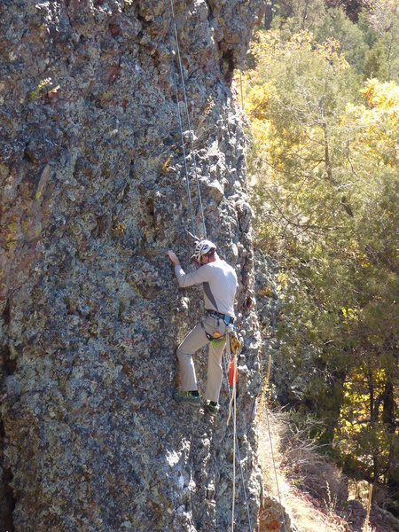 Rock Climbing Photo: Brett testing the holds while bolting Cap'n U (pho...