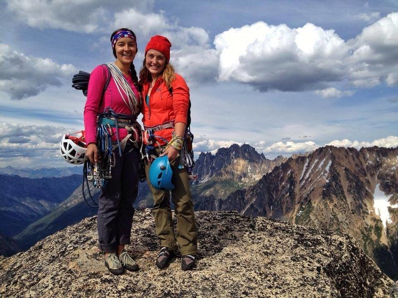 Mal & Lizzy after climbing Southwest Face, South Early Winter Spire in Washington Pass.