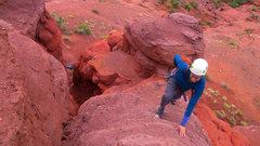 Rock Climbing Photo: Scrambling up the start of Impish.