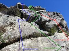 Rock Climbing Photo: Chimps in Négligée (5.9), Death & Taxes (5.10c),...