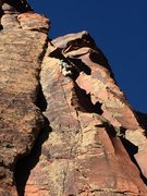 Rock Climbing Photo: Chris Stewart gets sour feet on the 140' Bearded L...