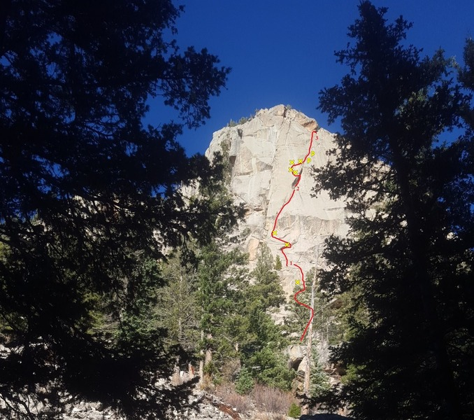 Rock Climbing Photo: Tops of P1, 2, and 3 as seen from the approach.