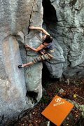 Rock Climbing Photo: Climbing a funky arete. I have no idea if this is ...