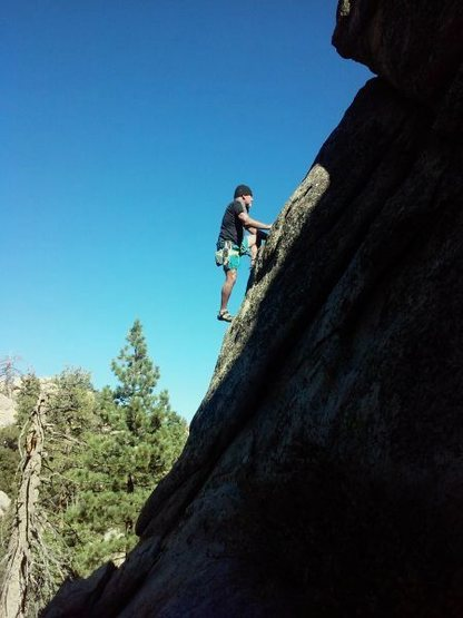 Rock Climbing Photo: Pete on another FA, Holcomb Valley Pinnacles