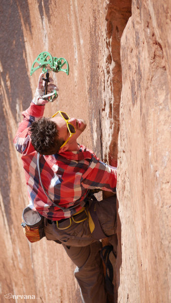 Rock Climbing Photo: Firing big gear up high...