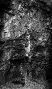 Rock Climbing Photo: David Morison on Dead Souls.   Kodak Tri-X 400
