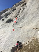 Rock Climbing Photo: Start of the route. 3 bolts to the wide crack abov...