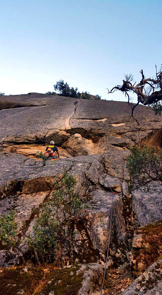 Rock Climbing Photo: Jimmie sizing up the crux on Vanishing Point