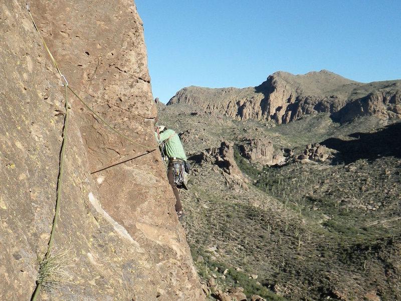 Rock Climbing Photo: P2 traverse.
