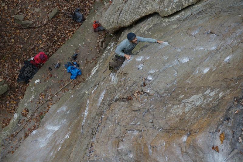 Rock Climbing Photo: Damon thinking he's on something easier.