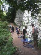Rock Climbing Photo: base of the crag - Austrian team, Italian team, Wi...