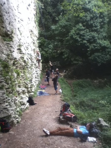 base of the crag - international team!