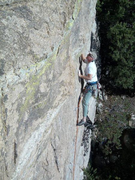 Rock Climbing Photo: Scott H. leading Ribbit Roof.