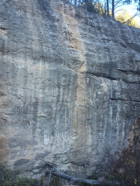 Route goes up the yellow streak on great limestone.