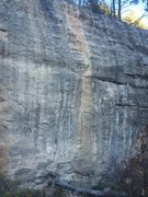 Rock Climbing Photo: Route goes up the yellow streak on great limestone...