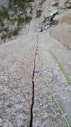 Rock Climbing Photo: The classic view down the crack, showing the endle...