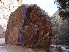 Rock Climbing Photo: The blue line is Route 4 from this angle.