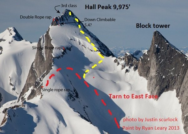 Rock Climbing Photo: McCoubrey climbed to the col from the far side (ye...