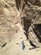 Rock Climbing Photo: Passing the overhanging flake before the crux