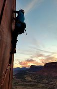 Rock Climbing Photo: October Sunset on Wounded Knee