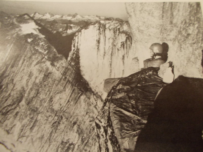 Rock Climbing Photo: Joe Meyers bivouacs on 1975 E Face attempt