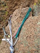 Rock Climbing Photo: The green and faded red sling are the fixed tat.  ...