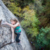 Anne Mariah mid crux on Blow Before Throws. Oak Creek Canyon.